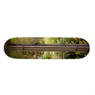 View through old window custom skate board