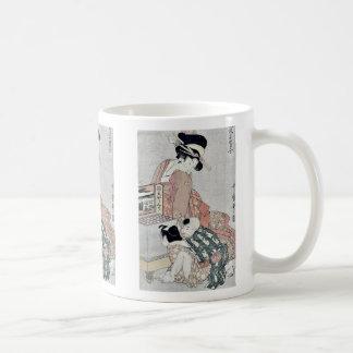 Viewing a peep box show by Kitagawa, Utamaro Ukiyo Coffee Mugs