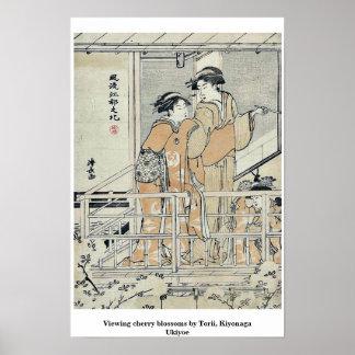 Viewing cherry blossoms by Torii, Kiyonaga Ukiyoe Print