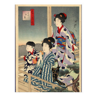 Viewing from a balcony by Toyohara Chikanobu Postcard