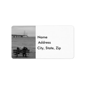 Viewing Mackinac Bridge Grayscale Address Label