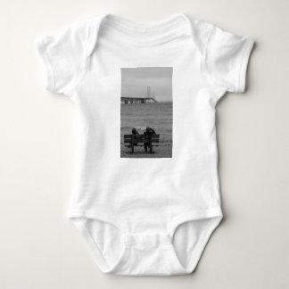 Viewing Mackinac Bridge Grayscale Baby Bodysuit