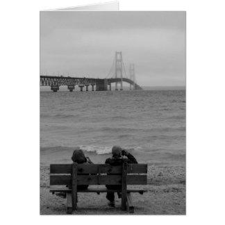 Viewing Mackinac Bridge Grayscale Card