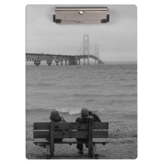 Viewing Mackinac Bridge Grayscale Clipboard