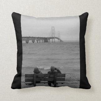 Viewing Mackinac Bridge Grayscale Cushion