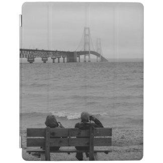 Viewing Mackinac Bridge Grayscale iPad Cover