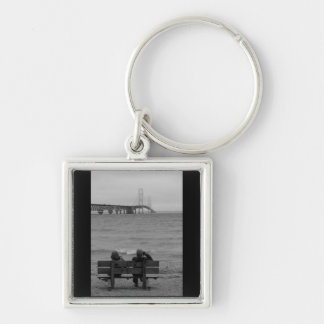 Viewing Mackinac Bridge Grayscale Key Ring