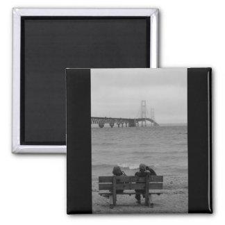 Viewing Mackinac Bridge Grayscale Magnet