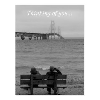 Viewing Mackinac Bridge Grayscale Postcard