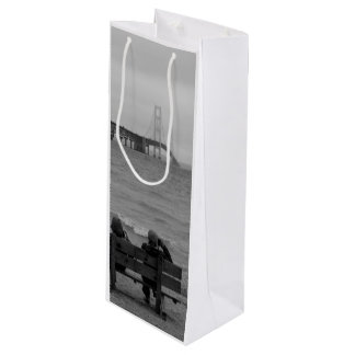 Viewing Mackinac Bridge Grayscale Wine Gift Bag