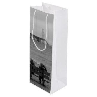 Viewing Mackinac Bridge Grayscale Wine Gift Bag