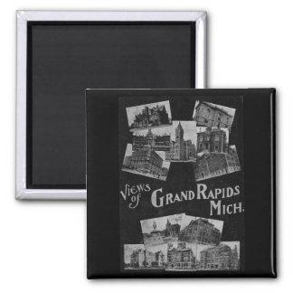 Views of Grand Rapids Michigan Vintage Square Magnet