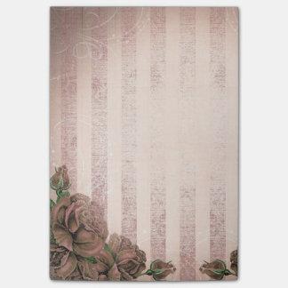 Vignette Pink Stripes and Vintage Roses Post-it Notes