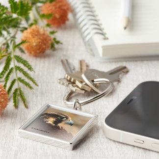 Vignetted Profile of a Peregrine Falcon Silver-Colored Square Keychain