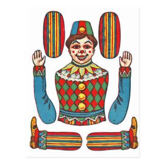 Vihtage Circus Clown Paper Cut Out Doll Postcard