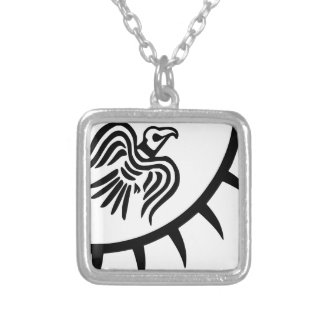 Viking Black Raven Banner Silver Plated Necklace