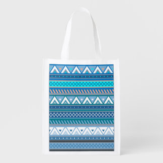 Viking Blue Triangle Pattern with Diamonds Reusable Grocery Bag