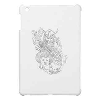 Viking Carp Geisha Head Black and White Drawing Case For The iPad Mini