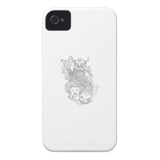 Viking Carp Geisha Head Black and White Drawing Case-Mate iPhone 4 Cases