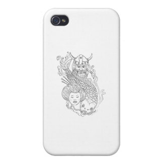 Viking Carp Geisha Head Black and White Drawing Cases For iPhone 4
