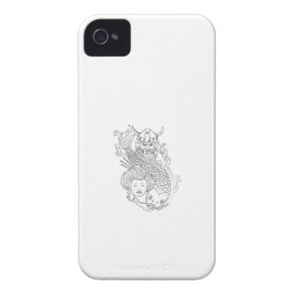 Viking Carp Geisha Head Black and White Drawing iPhone 4 Case-Mate Case