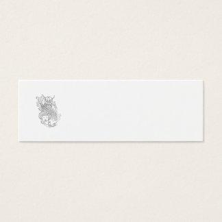 Viking Carp Geisha Head Black and White Drawing Mini Business Card