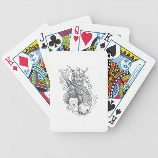 Viking Carp Geisha Head Tattoo Bicycle Playing Cards