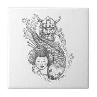 Viking Carp Geisha Head Tattoo Ceramic Tile