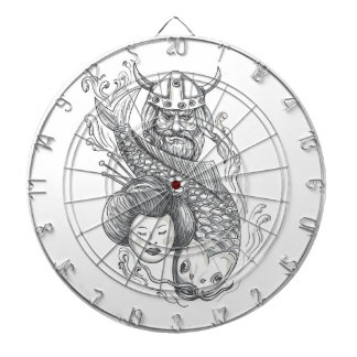 Viking Carp Geisha Head Tattoo Dartboard