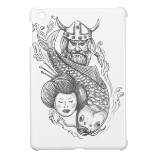 Viking Carp Geisha Head Tattoo iPad Mini Covers