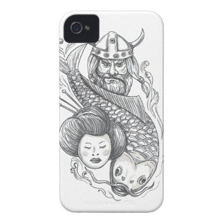 Viking Carp Geisha Head Tattoo iPhone 4 Case