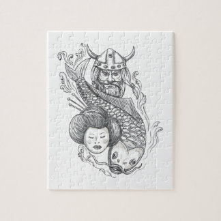 Viking Carp Geisha Head Tattoo Jigsaw Puzzle