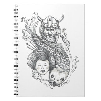 Viking Carp Geisha Head Tattoo Notebooks
