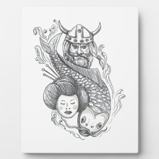 Viking Carp Geisha Head Tattoo Plaque