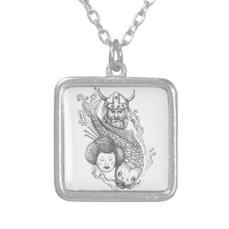 Viking Carp Geisha Head Tattoo Silver Plated Necklace
