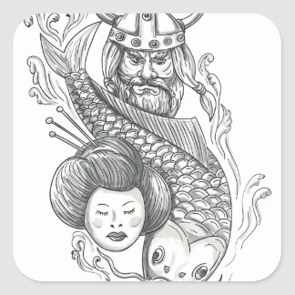 Viking Carp Geisha Head Tattoo Square Sticker