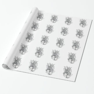 Viking Carp Geisha Head Tattoo Wrapping Paper