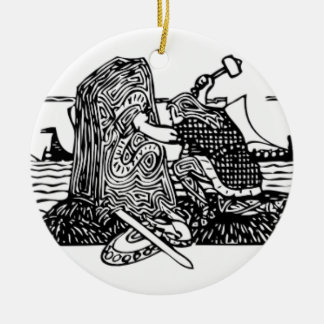 Viking Carving Runes Ceramic Ornament