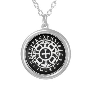 Viking Cross with Runes Necklace