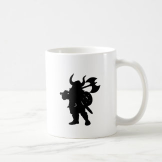 Viking in Silhouette, with axe over shoulder Basic White Mug