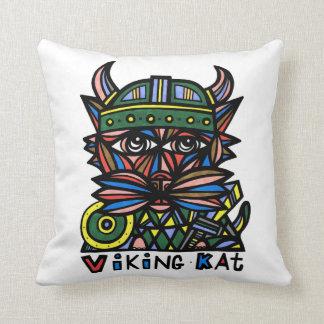 """""""Viking Kat"""" Throw Pillow 16"""" x 16"""""""