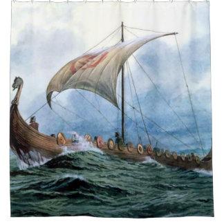 viking longboat shower curtain