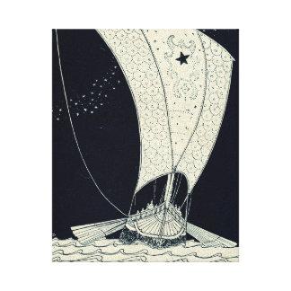 Viking Longship Sailing at Night Canvas Print