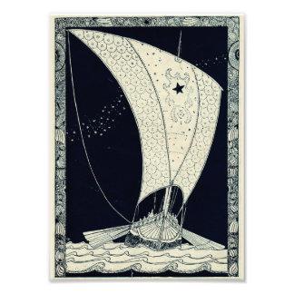 Viking Longship Sailing at Night Photo Print
