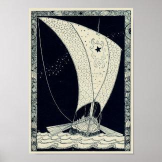Viking Longship Sailing at Night Poster