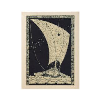Viking Longship Sailing at Night Wood Poster
