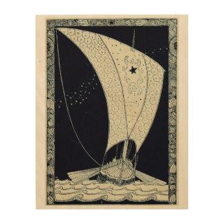Viking Longship Sailing at Night Wood Wall Art