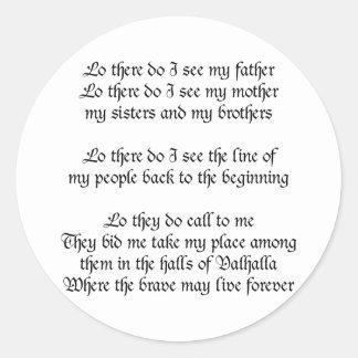Viking Prayer Round Sticker