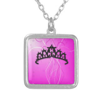 Viking Princess Crown- pink Square Pendant Necklace