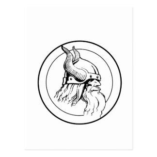 Viking profile in circle postcard